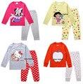 Nuevo 2 unids de dibujos animados t-shirt top pantalones pijamas pijamas pijamas ropa de noche ropa de bebe ropa de bebé niña niños niños infantil