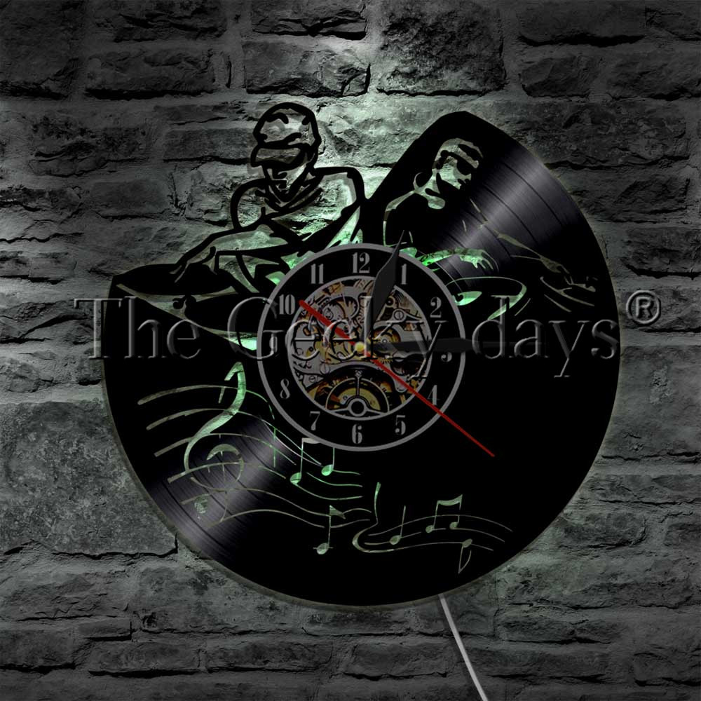 Lights & Lighting Led Indoor Wall Lamps 1piece Dj Turntable Rock N Roll Music Party Led Night Light Vinyl Record Wall Clock Music Studio Led Hanging Light For Dj Gift