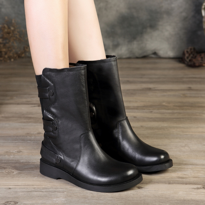 Rivet Boots Shoes Woman VALLU New Arrival Mid-Calf Lady Boots Strappy Handmade Genuine Leather Black Female Shoes Plus Size 41 women mid calf boots shoes new arrival vallu vintage shoes lace up original leather female chunky heel boots