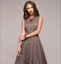 цена plus size new style vintage a-line sleeveless woman dresses spring summer classical Polka Dot elegant o-neck female dresses