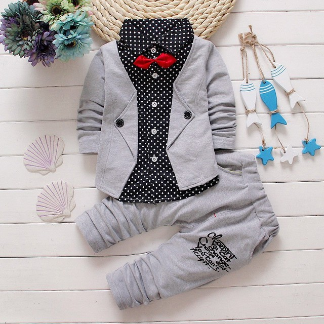 2016 New Newborn Baby Rompers Clothing Children Boys Clothes Tie Gentleman Bow Leisure Toddler two-pieces suit clothing set