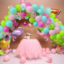92 Pieces DIY Balloons Garland Blue Green Hotpink Confetti Hawaii Flamingo Tropical Themed Party Supplies For Birthday