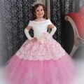 Vestido de Baile Rosa Vestidos Pageant Para Meninas Glitz Longo Appliqued Lace Adorável Abiti da Comunione Vestidos Da Menina de Flor Do Laço Do Vintage