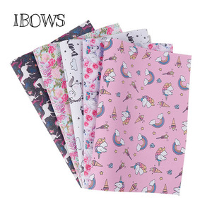 22cm*30cm Synthetic Leather Sheet Pink Ice Flower Horse Pu Fabric For Party DIY Bag Hairbows Patchwork Sewing Material Fabric