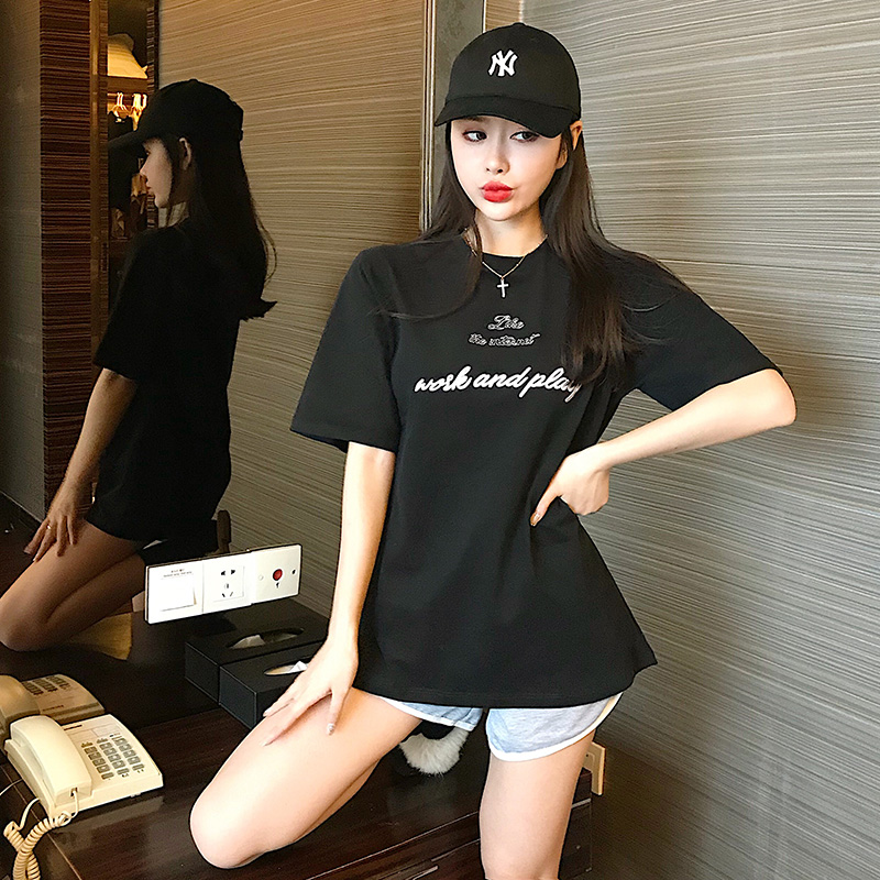 T Shirt Women Embroidered Letter Womens T-shirt Loose Short Sleeve Female Top Harajuku Blusa
