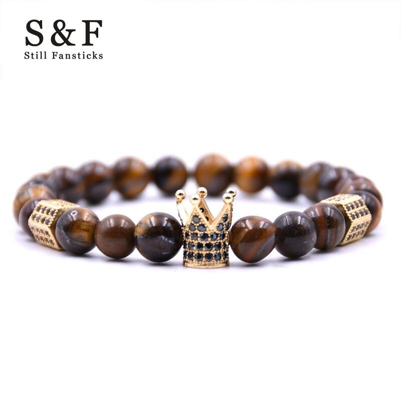 Crown Bracelet Charms Pulsera Men Jewelry 8mm Beads Braslet Bracelets Bangles Pulseira Masculina For Women Bileklik Pulseras