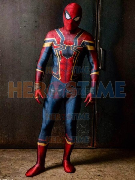 High Quality 3D Print Iron Spider Costume Spandex Lycra Spider Man Homecoming Halloween Party Iron Spider