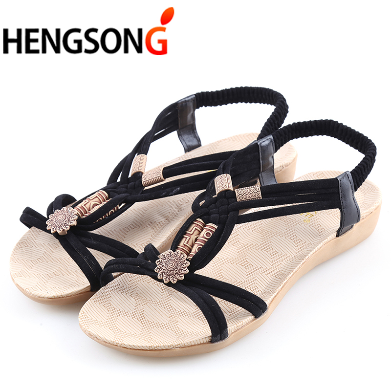 Women's Sandals 2018 Summer Shoes Mid Heel Fashion Herringbone Beaded Sandals Flip-flop Flat Bohemia Beach Shoes Female Girls timetang flat sandals t strap fashion trend sandals bohemia national flat heel beaded female shoes sale women shoes