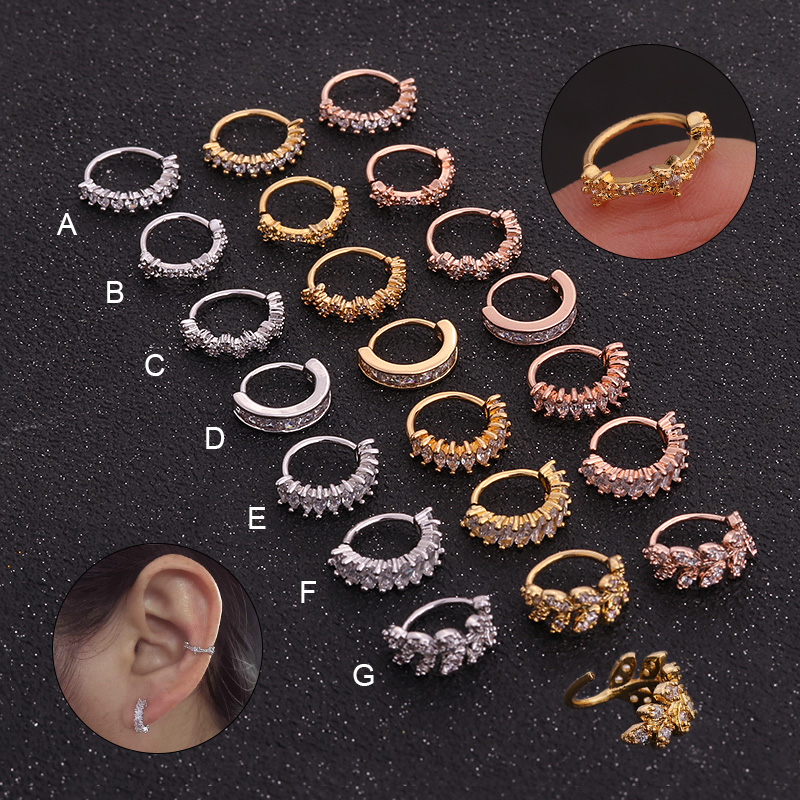 Feelgood Ring Jewelry Rook-Hoop Ear-Piercing Helix Gold-Color Silver CZ And 1PC