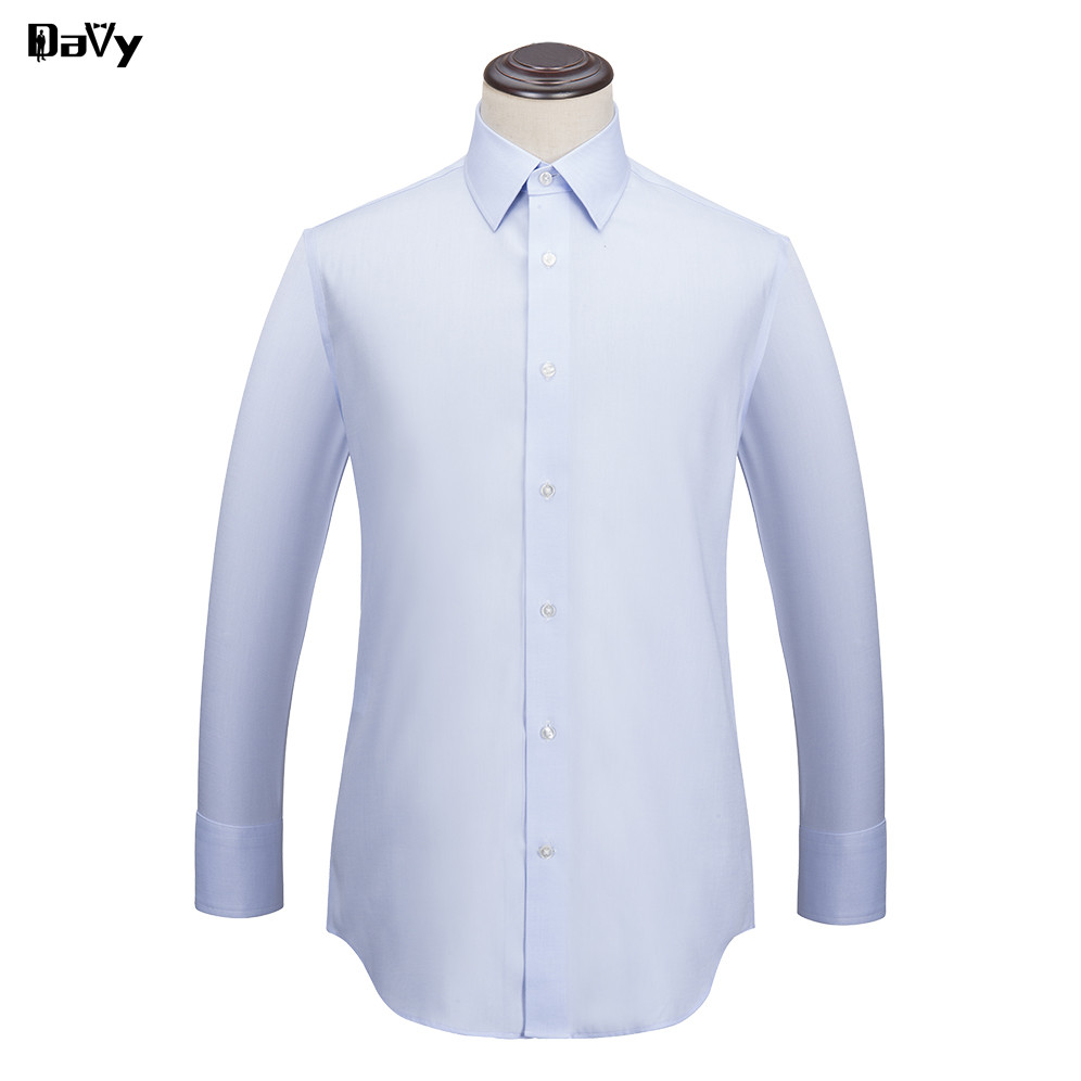 Mens Casual Shirts Custom Made Blue Cotton Men Shirt Long Sleeve
