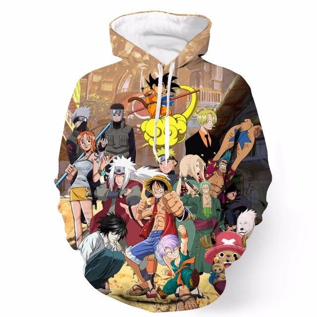 Новые Аниме Гоку Папарацци С Капюшоном Кофты/Луффи/Наруто/Зоро/Какаши 3D Толстовка Толстовка Мужчины Женщины Толстовки пуловеры