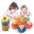 Bebê flores conjunto de coluna de madeira forma geometria blocos de construção de brinquedos de presente de aniversário