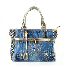2017 Summer Fashion womens handbag large oxford shoulder bags patchwork jean style and crystal decoration blue
