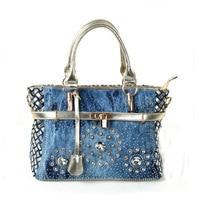 2017 Summer Fashion womens handbag large oxford shoulder bags patchwork jean style and crystal decoration blue bag