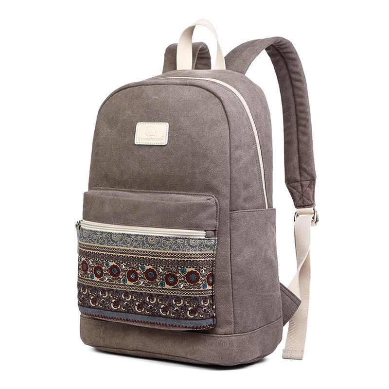 Mochila de lona nueva para mujer mochilas de viaje para ordenador portátil de Estilo Vintage Casual 2 tamaños 13 pulgadas