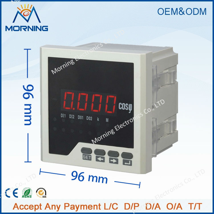 H31 96*96mm hot sale LED display 1-phase digital power factor meter, support switch input, switch output and analog output me 3h61 72 72mm led display 3 phase digital power factor meter support switch input and transmitting output