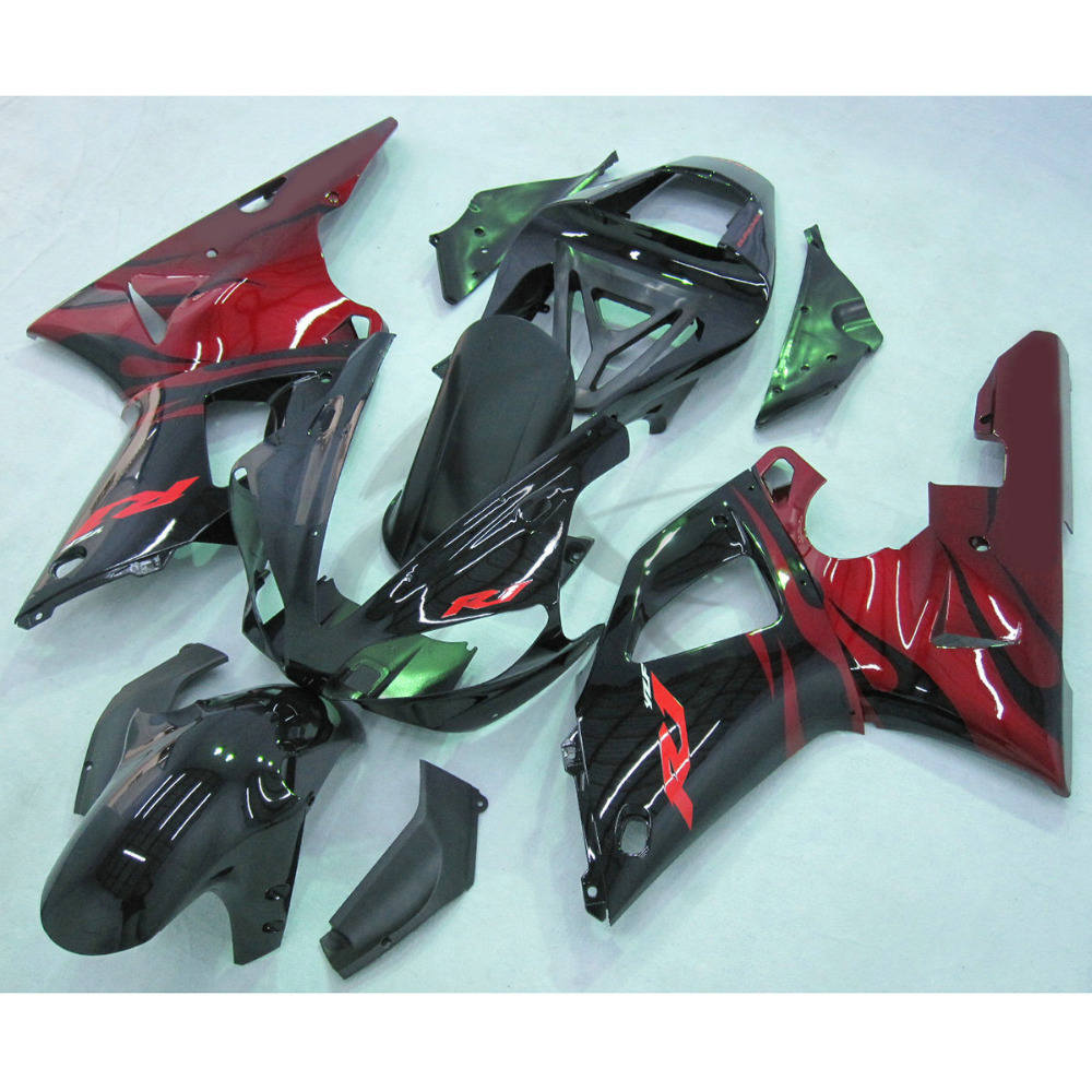 Injection ABS Black Red Fairing Set For Yamaha YZFR1 YZF R1 1000 2000-2001 high quality abs fairing kit for yamaha r1 2002 2003 red flames in black fairings set injection molding yzf r1 02 03 yz32