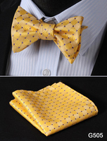 Check Polka Dot Silk Jacquard Woven Men Butterfly Self Bow Tie BowTie Pocket Square Handkerchief Hanky Suit Set G5 5