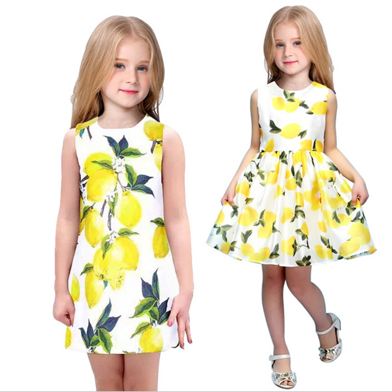 1 Pcs Mother Daughter Dresses 2017 New Girls Lemon Printed Spring Dress Family Matching Dress Mom Daughter Clothes Mae e Filha
