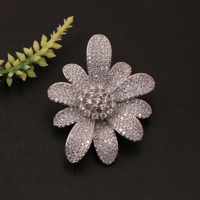 Lanyika Fashion Perhiasan Gaya Barat Halus Bunga Bros Liontin Dual untuk Perjamuan Micro Membuka Mewah Bridal Hadiah Terbaik