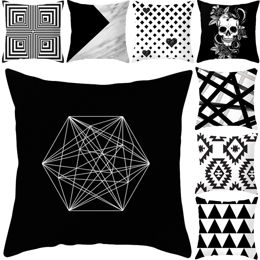 Nordic Black And White Geometrical Sofa Pillow Case - Sofa Cushions Black And White