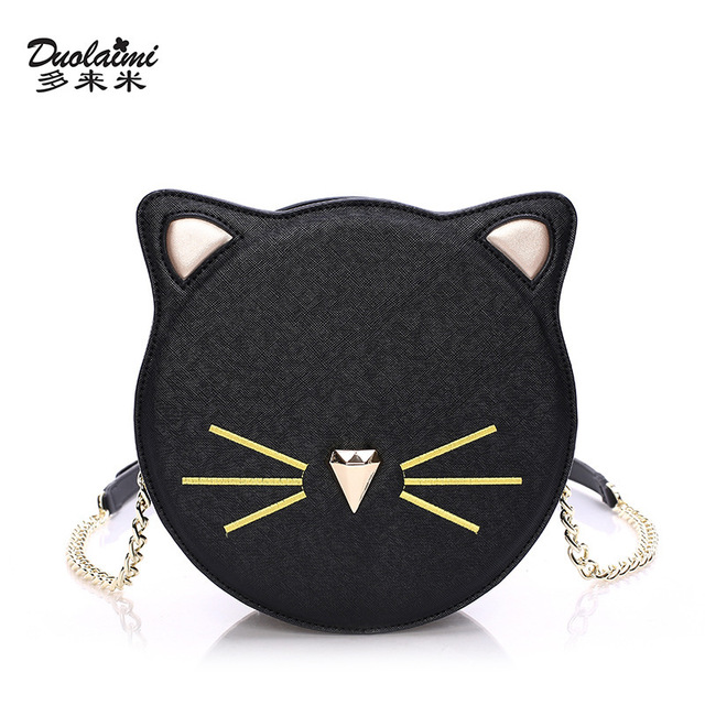 Duolaimi 2018 Fashion Women Pu Leather Cat Handbag Las Messenger Bag Brand Designer Mini Crossbody