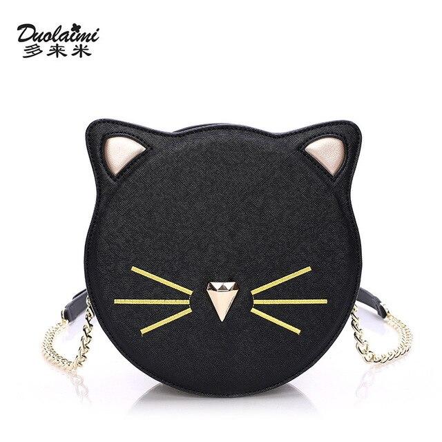 Duolaimi 2017 мода женщины искусственная кожа cat сумка 2017 дамы cluth сумка марка дизайнер мини crossbody bolsos mujer де