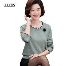 XJXKS wiosna i jesień z długim sweter z rękawami jednolity kolor kołnierzyk kwiat lotosu Plus rozmiar luźne Plus Size kaszmirowy sweter kobiet