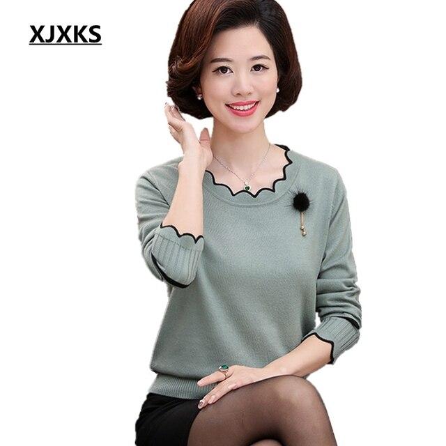 Xjxks 봄과 가을 긴팔 스웨터 단색 연꽃 잎 칼라 플러스 크기 느슨한 플러스 크기 캐시미어 여성 스웨터