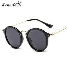 Kennifer Nueva Ronda Retro gafas de Sol Mujeres Diseñador de la Marca de La Vendimia Gafas de Sol Mujeres Recubrimiento Gafas De Sol Gafas lunette de soleil
