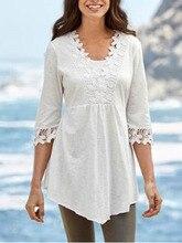2019 white Large Size Lace cotton Loose causal Blouse Tops Boho Long Sleeve V-Neck Shirt Female Plus s-5xl