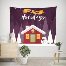 Snowflake Christmas for Square Happy New Year Tribe Style Polyester Fabric Tapestry Wall Hanging Decor