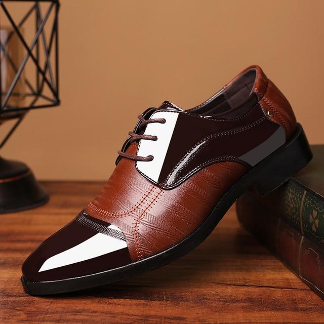 Leather Shoes Pointed Men Ballroom Dance Bureau Dress Shoes Man Baita Wedding Shoes Latin Prom Sports Dance Shoes Large Size