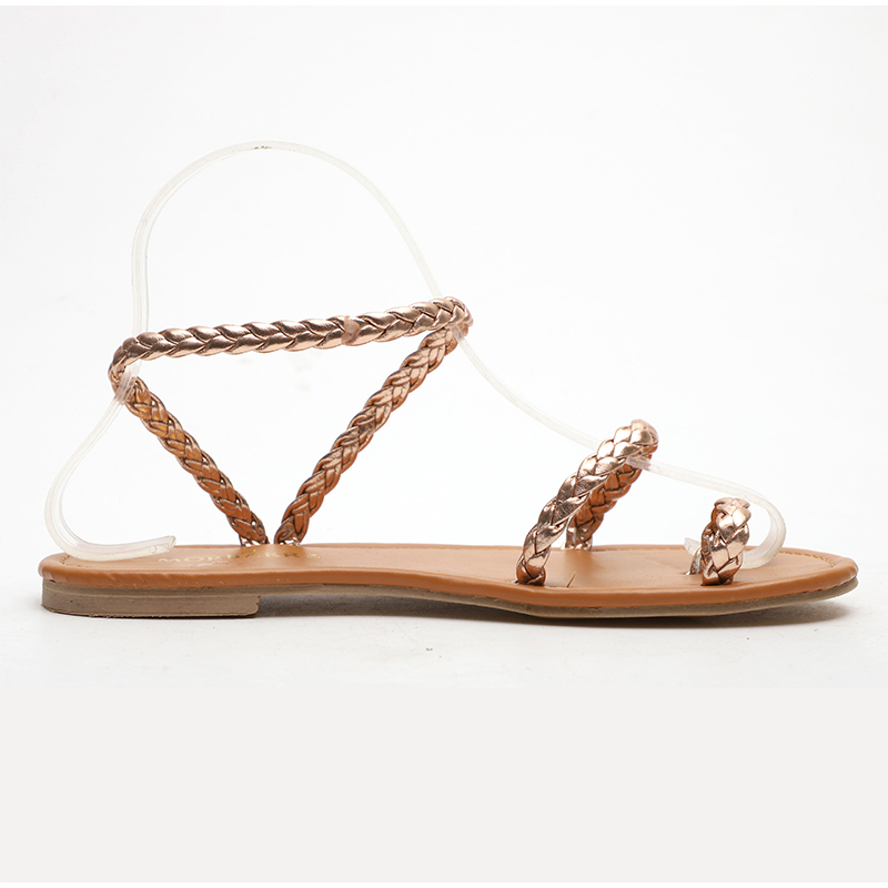 MCCKLE Plus Size Thong Sandals Summer Women Flip Flops Weaving Casual Beach Flat With Shoes Rome Style Female Sandal Low Heels