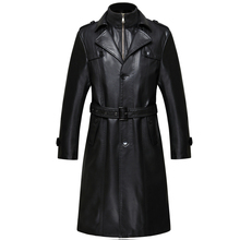 2016 New Casual Long Men Leather Jacket Thick Warm Winter Autumn Men Faux Leather Coat Windbreaker With Blet Outerwear RC6688