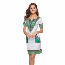 Sexy V Neck Pocket Patchwork Bodycon Tunic Dress Women Summer 2018 Robe African  Print Dashiki Dresses 78ef4bef45dd