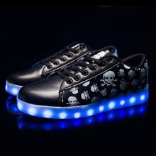 7 Colors Unisex Led Luminous Light Shoes Printed Skull head Women Fashion USB Light Led Shoes for Adult Eur 36-44  NX4031