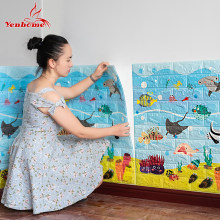 Adhesivo 3D para niños, pegatinas de pared de espuma PE para habitación de niños, papel tapiz autoadhesivo, adhesivo 3D de ladrillo para sala de estar, pegatinas de pared del dormitorio decoración de pared(China)
