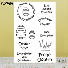 AZSG Easter Eggs/German Happy Clear Stamps For DIY Scrapbooking/Card Making/Album Decorative Silicone Stamp Crafts