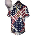 Kanye West Hip Hop Rap Camiseta de Verano Para Hombre de La Bandera Americana impreso de Oro Side Zipper Extended Camiseta Hombres Palangre Camisetas