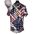 Kanye West Hip Hop Rap T Shirt Summer Mens American Flag Printed Golden Side Zipper Extended T Shirt Men Longline Tee Shirts