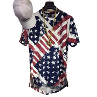 Kanye West Hip Hop Rap T Shirt Summer Mens American Flag Printed Golden Side Zipper Extended