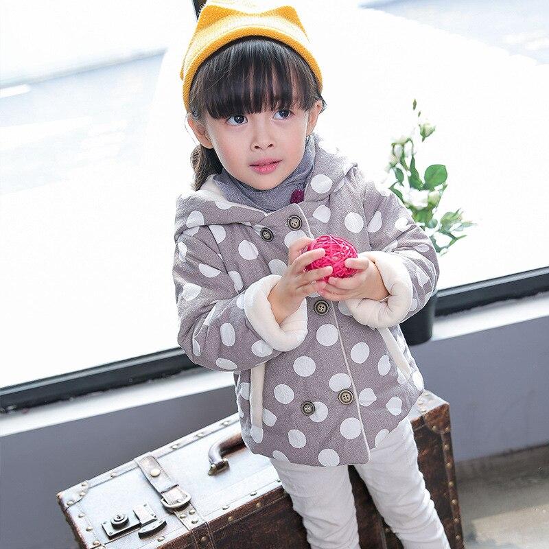 Kore Kış Çocuk Pamuk Yastıklı Puantiyeli Kız Kalınlaşmış Tavşan Kulaklar Ceket ile Yeni Moda ve Sıcak Ceket Kapüşonlu 4272