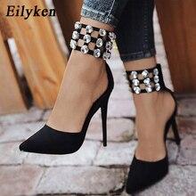 Eilyken Flock Crystal Gladiator Women Pumps Fashion Zipper Pointed Toe High Heels Lady Shoes Thin Heels Chaussure Femme Black