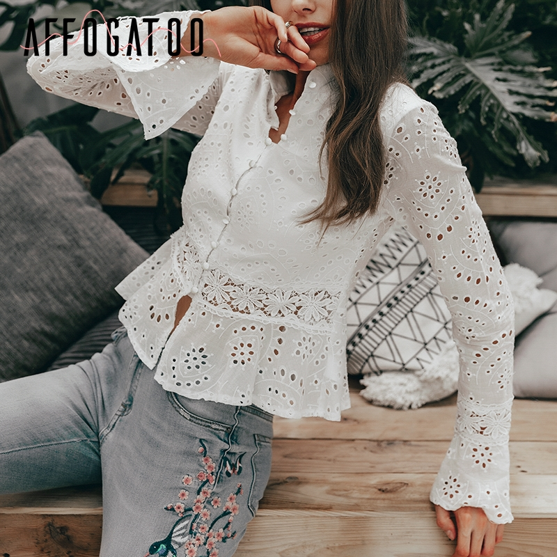 Affogatoo Elegant ruffle lace summer white   blouse     shirt   women Vintage embroidery long sleeve cotton top Hollow out   blouse   female