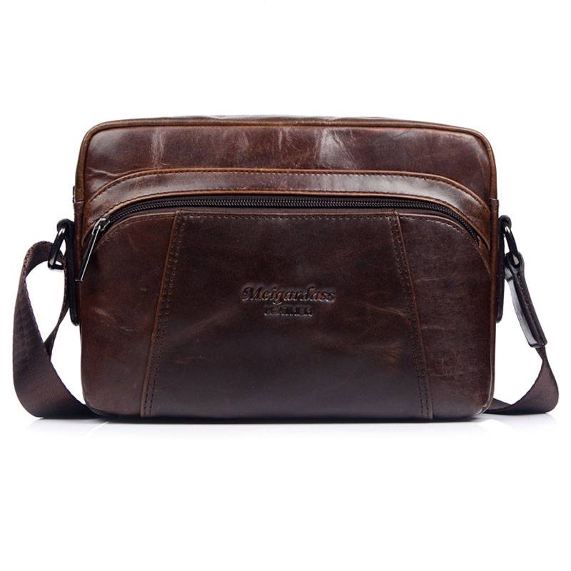 High Quality Men Bag First Layer Cowhide Men Sling Shoulder Bag Famous Brand Business Casual Cross Body Messenger Bags yeso brand men business messenger bag famous waterproof oxford casual cross body bags men s simple shoulder bags for ipad pack