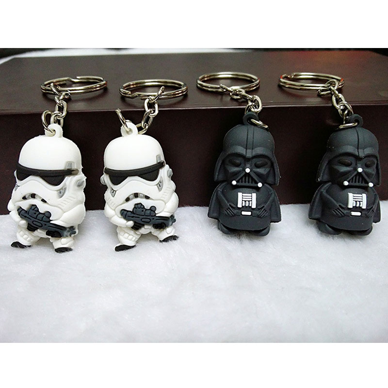 2pcs/set Star Wars Cartoon Jewelry Silicone Key Sets Doll Animation Theme Decoration Decoration Commemorate Gift Toys Supplies