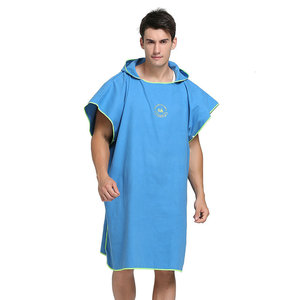 Image 4 - 90*110 Microfiber Beach Towel Wetsuit Changing Robe Poncho with Hood Quick Dry Hooded Towels for Swim Man Women Bathrobe Towels