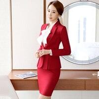 Mode für frauen formal anzüge Büro OL Uniform Designs langhülse blazer mit rock Anzüge Arbeitskleidung 2 stück Sets plus größe 2017