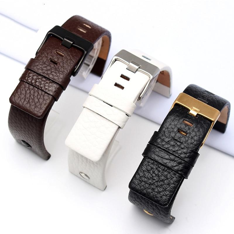5a2d377b76b0 De cuero Universal para Diesel reloj de pulsera correa de cinturón para  BraceletDZ7314 DZ7256 Correa correas 24 26 28 30mm con remaches en Correas  de reloj ...